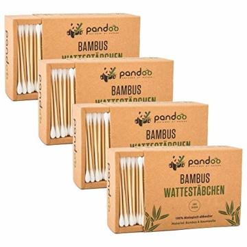 pandoo 4er Pack Bambus Wattestäbchen (800 Stück) | 100% biologisch abbaubar, vegan & nachhaltig | kompostierbare premium Wattestäbchen - 3