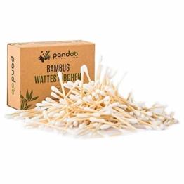 pandoo 4er Pack Bambus Wattestäbchen (800 Stück) | 100% biologisch abbaubar, vegan & nachhaltig | kompostierbare premium Wattestäbchen - 1