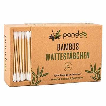 pandoo 4er Pack Bambus Wattestäbchen (800 Stück) | 100% biologisch abbaubar, vegan & nachhaltig | kompostierbare premium Wattestäbchen - 9