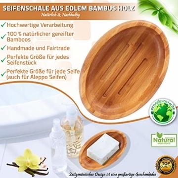 Grüne Valerie ® - Große edle nachhaltige Seifenschale/Seifenhalter/Soap Box Dish/aus Natur Holz (Bad, Dusche, Küche) - gereifter Bambus - 2
