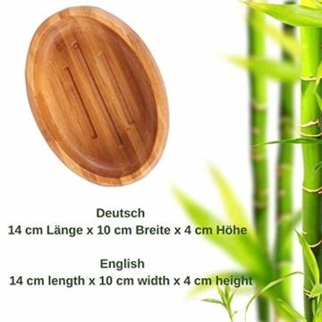 Grüne Valerie ® - Große edle nachhaltige Seifenschale/Seifenhalter/Soap Box Dish/aus Natur Holz (Bad, Dusche, Küche) - gereifter Bambus - 4