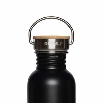 retulp urban edelstahl trinkflasche mit bambus deckel schwarz 500 ml 2
